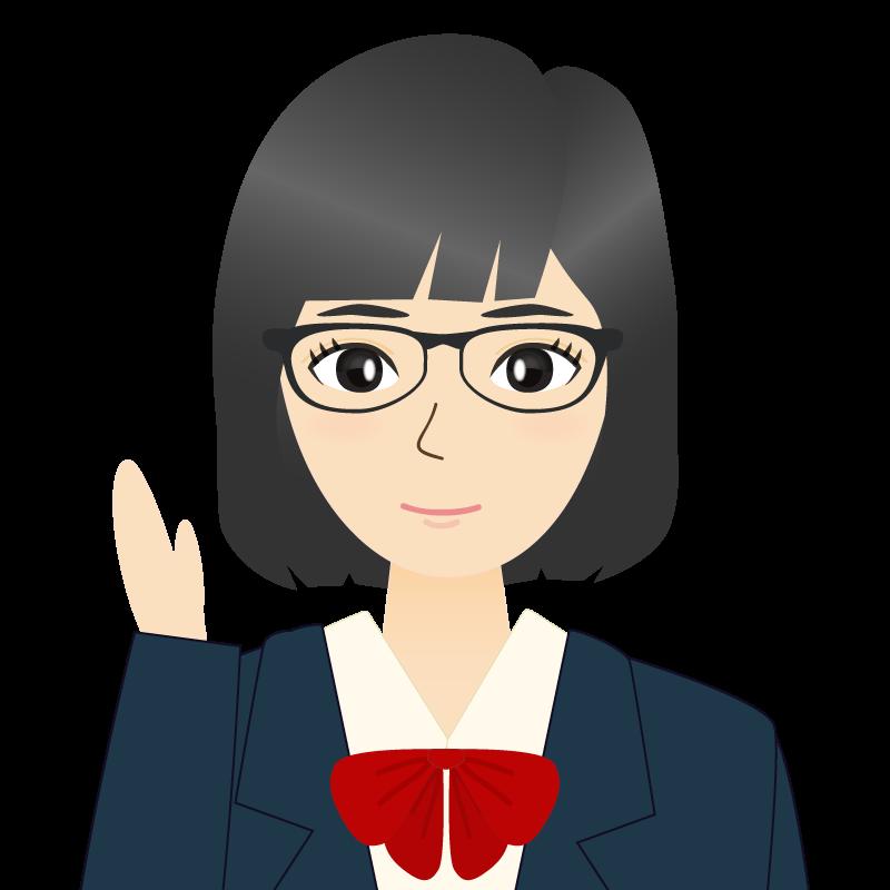 画像:セミロングの女性・学生・制服姿 眼鏡 案内