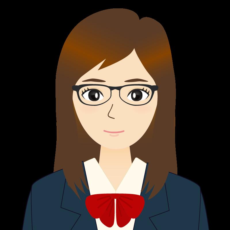 画像:ロングヘアの女性・学生・制服姿 眼鏡