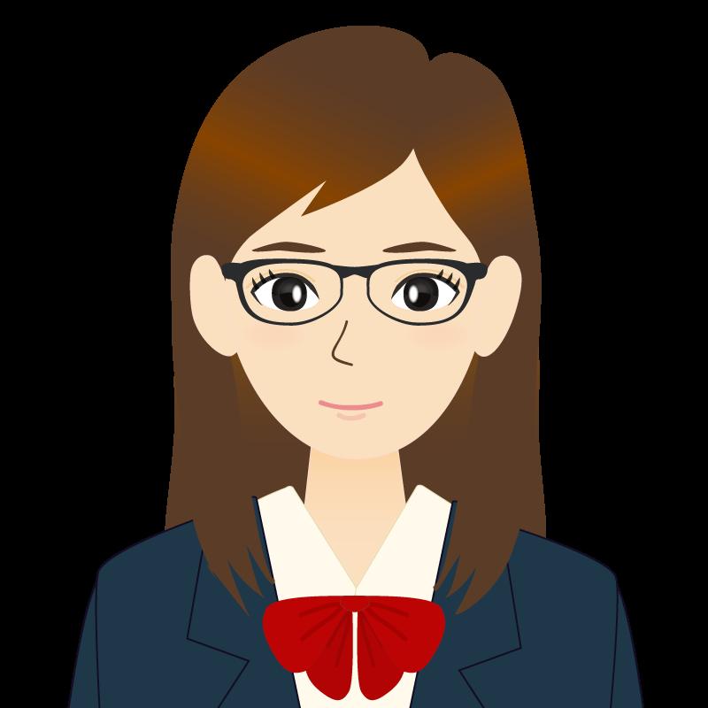 画像:ロングヘアの女性・学生・制服姿 眼鏡 耳だし