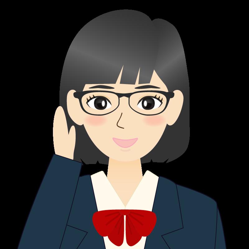 画像:セミロングの女性・学生・制服姿 眼鏡 耳だし 照れる