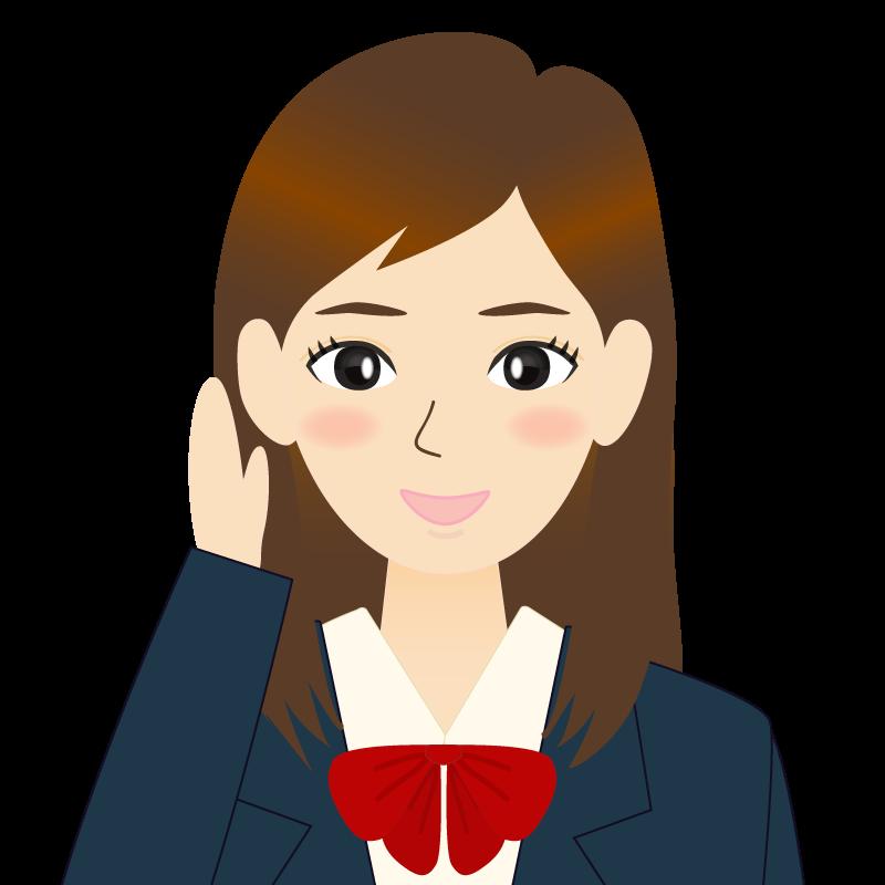 画像:ロングヘアの女性・学生・制服姿 耳だし 笑顔
