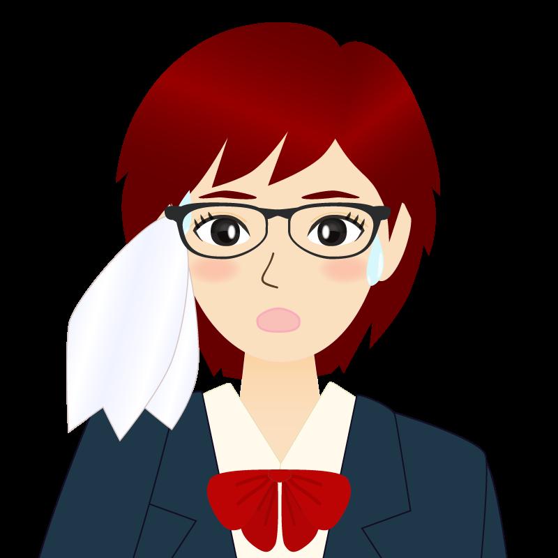 画像:ショートカットの女性・学生・制服姿 眼鏡 汗