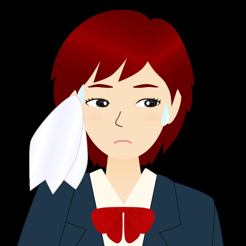 画像:ショートカットの女性・学生・制服姿 目線