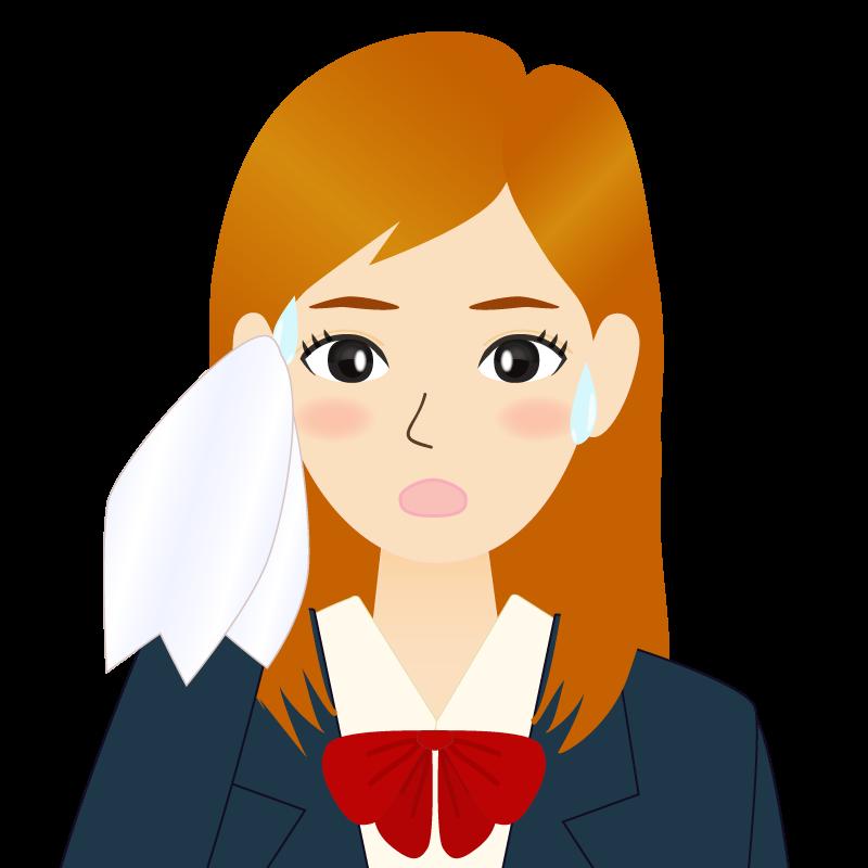 画像:茶髪ロングヘアの女性・学生・制服姿 耳だし 汗