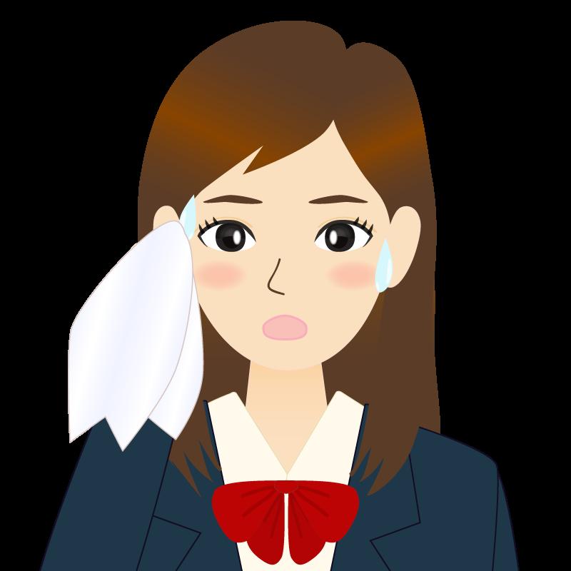 画像:ロングヘアの女性・学生・制服姿 耳だし 汗