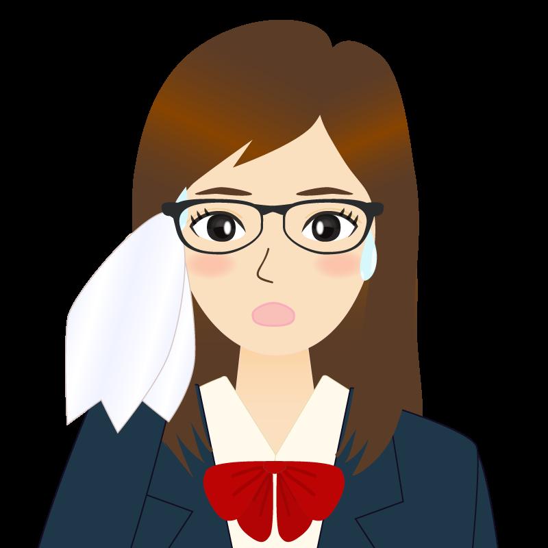 画像:ロングヘアの女性・学生・制服姿 眼鏡 汗