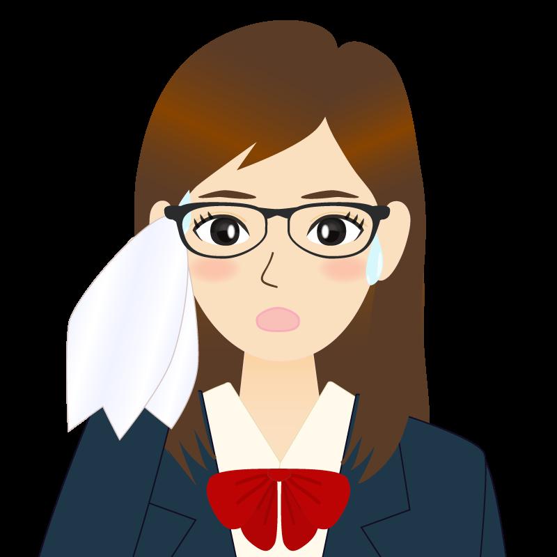 画像:ロングヘアの女性・学生・制服姿 眼鏡 耳だし 汗
