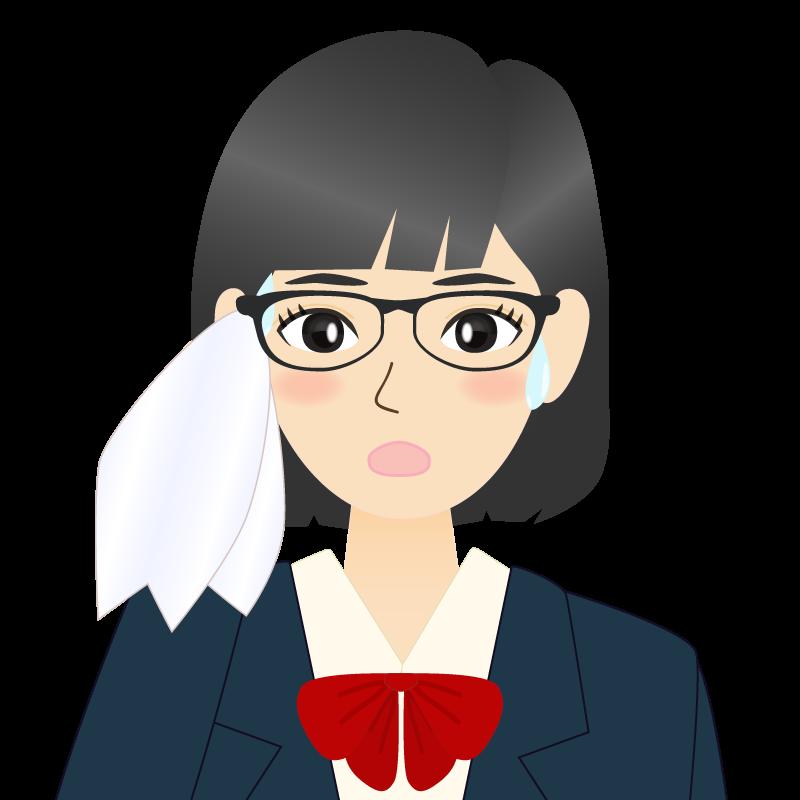 画像:セミロングの女性・学生・制服姿 眼鏡 耳だし 汗