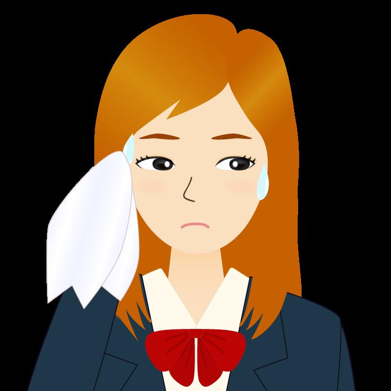 画像:茶髪ロングヘアの女性・学生・制服姿 目線