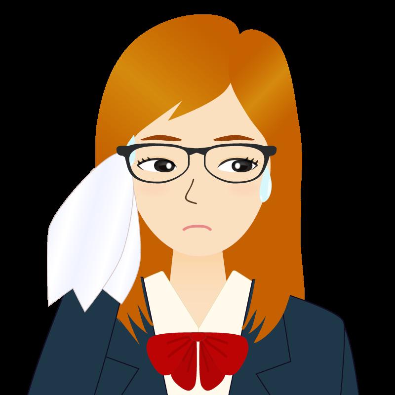 画像:茶髪ロングヘアの女性・学生・制服姿 眼鏡 目線