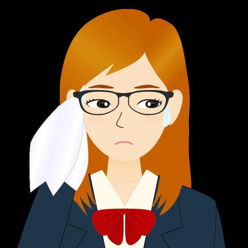 画像:茶髪ロングヘアの女性・学生・制服姿 眼鏡 耳だし 目線