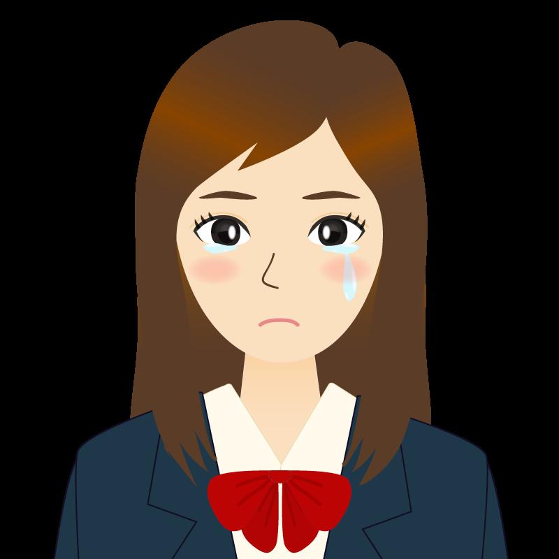 画像:ロングヘアの女性・学生・制服姿 涙