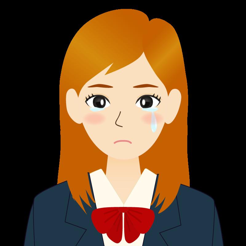 画像:茶髪ロングヘアの女性・学生・制服姿 耳だし 涙