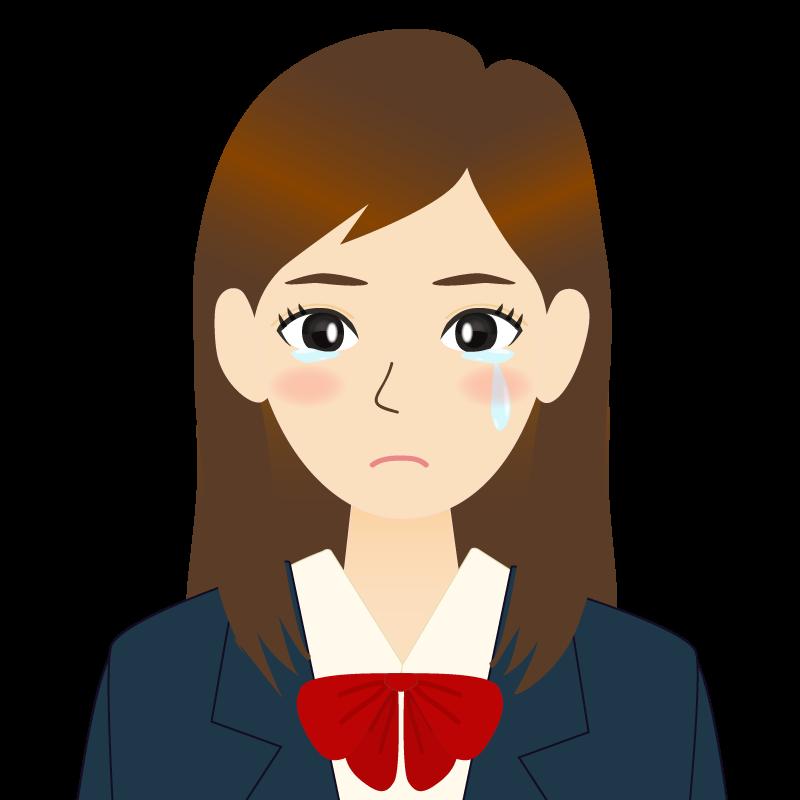 画像:ロングヘアの女性・学生・制服姿 耳だし 涙