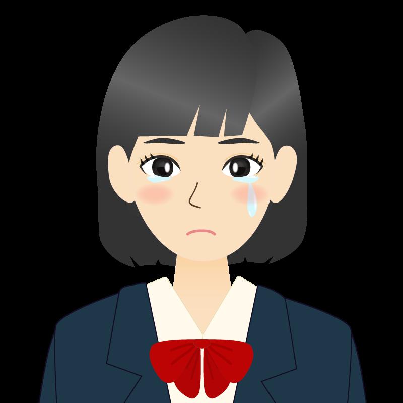 画像:セミロングの女性・学生・制服姿 涙