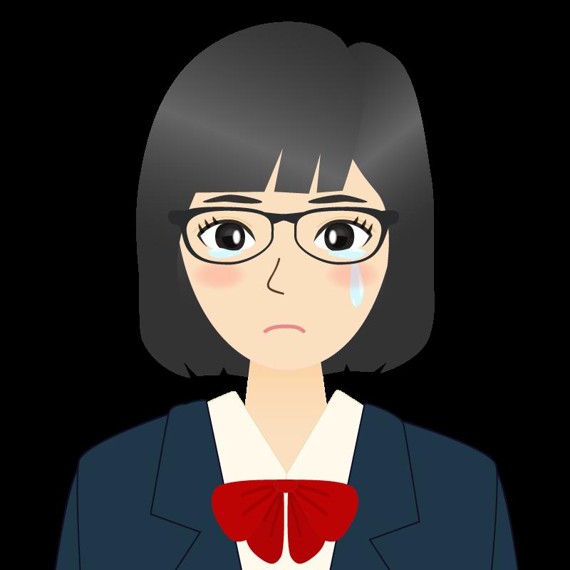 画像:セミロングの女性・学生・制服姿 眼鏡 涙