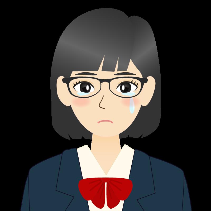 画像:セミロングの女性・学生・制服姿 眼鏡 耳だし 涙