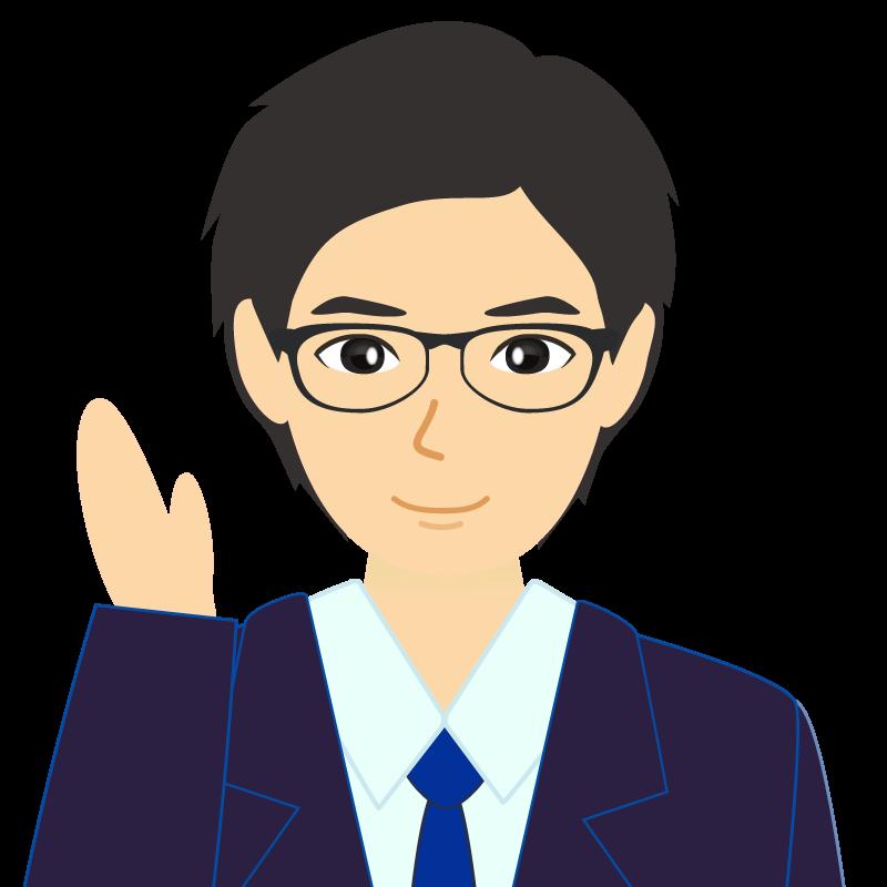 画像:スーツ男性イケメン風社会人 学生 眼鏡 挨拶