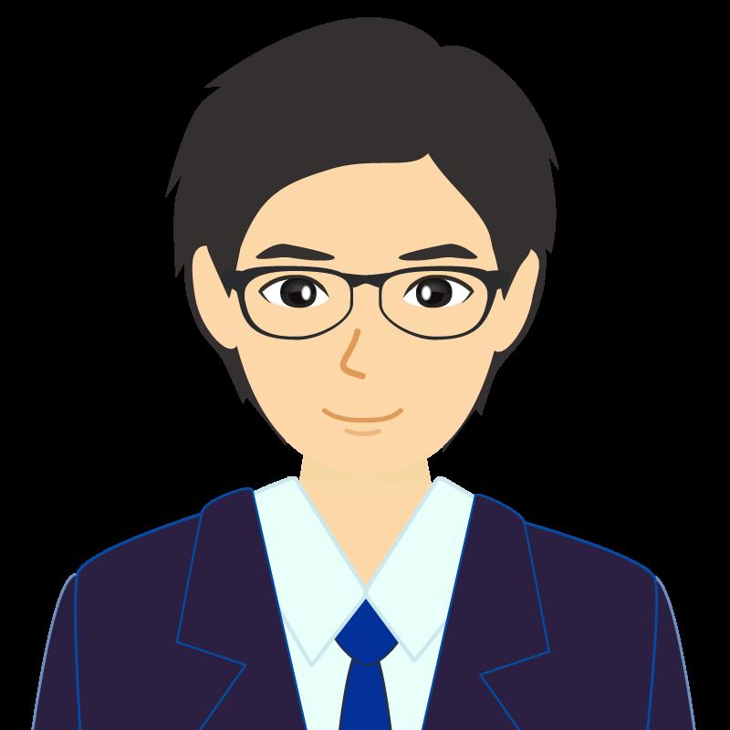 画像:スーツ男性イケメン風社会人 学生 眼鏡