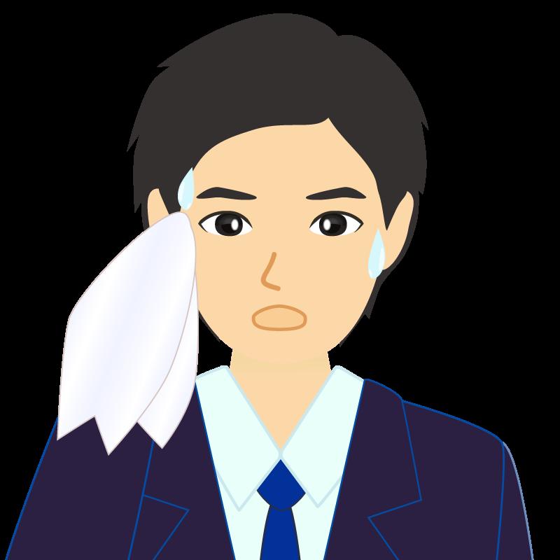 画像:スーツ男性イケメン風社会人 学生 汗