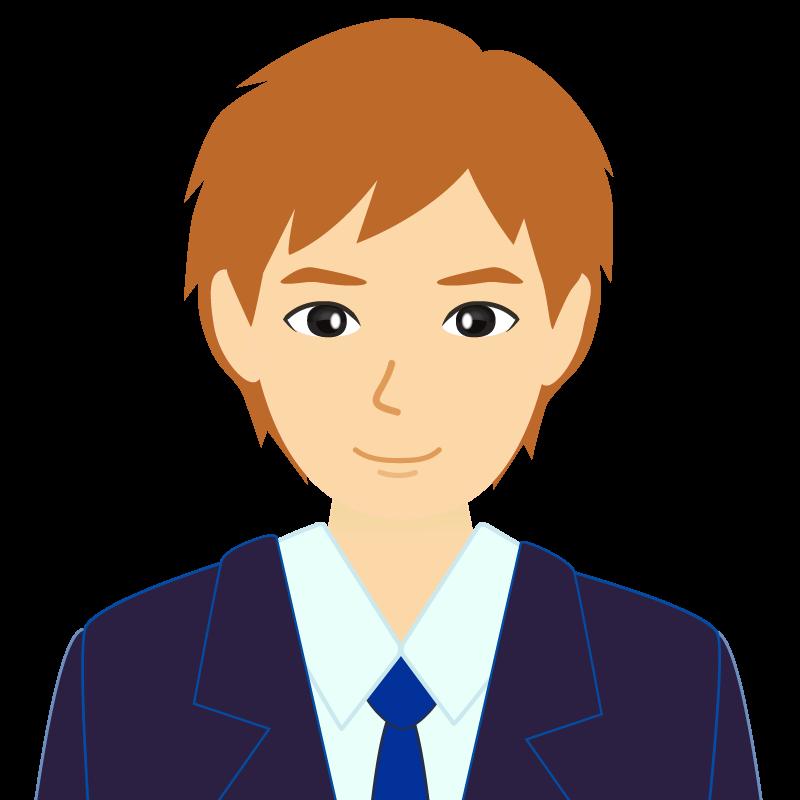 画像:茶髪イケメン風男性 笑顔