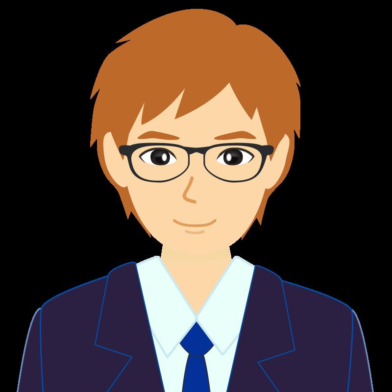 画像:茶髪イケメン風男性 眼鏡