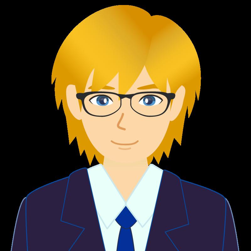 画像:金髪スーツ男性チャラ男風社会人 学生 眼鏡
