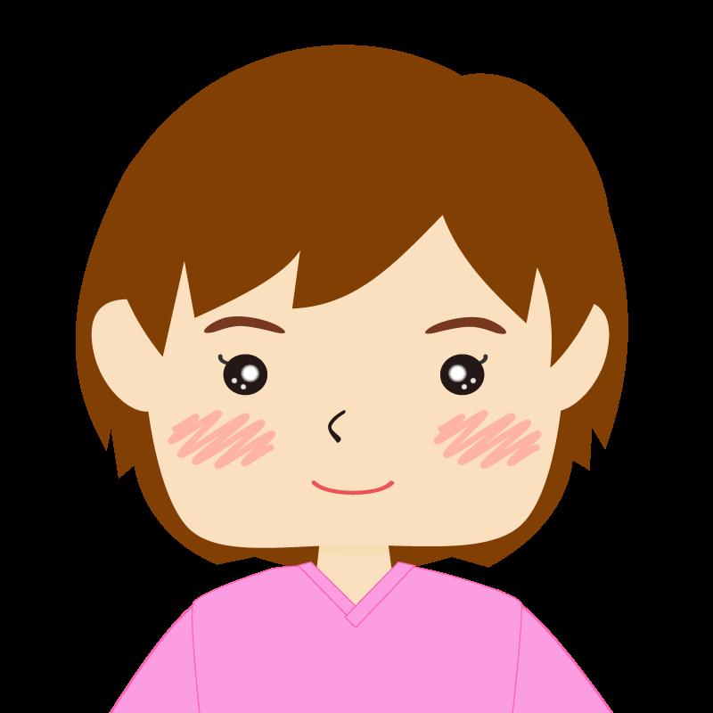 画像:四角い顔のショートカット女性 笑顔