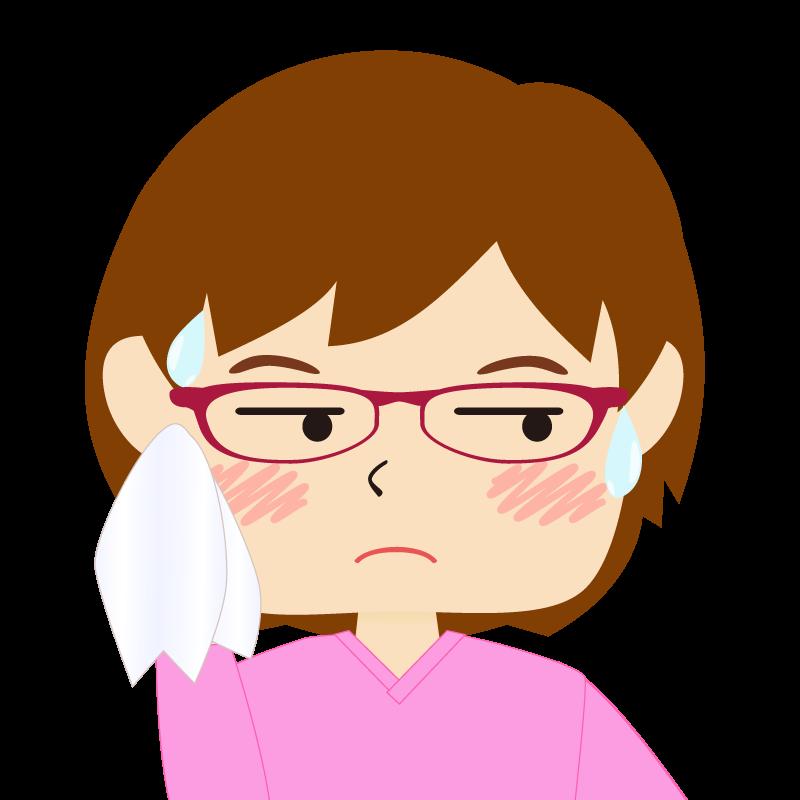 画像:四角い顔のショートカット女性 めがね 汗
