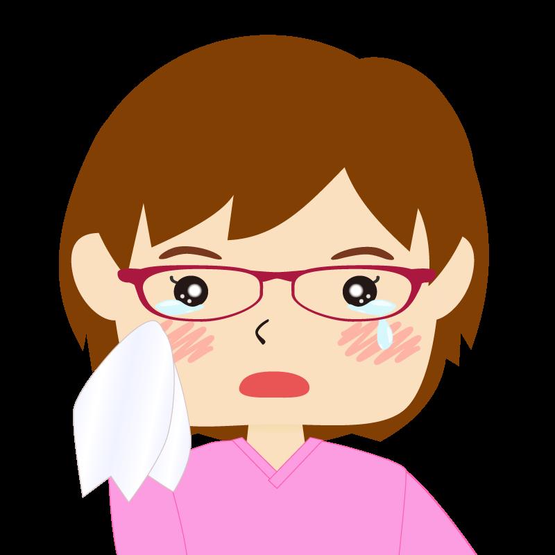画像:四角い顔のショートカット女性 めがね 涙