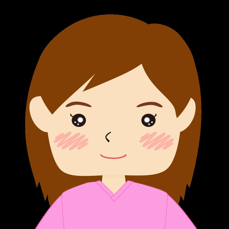 画像:四角い顔の女性 長髪 笑顔