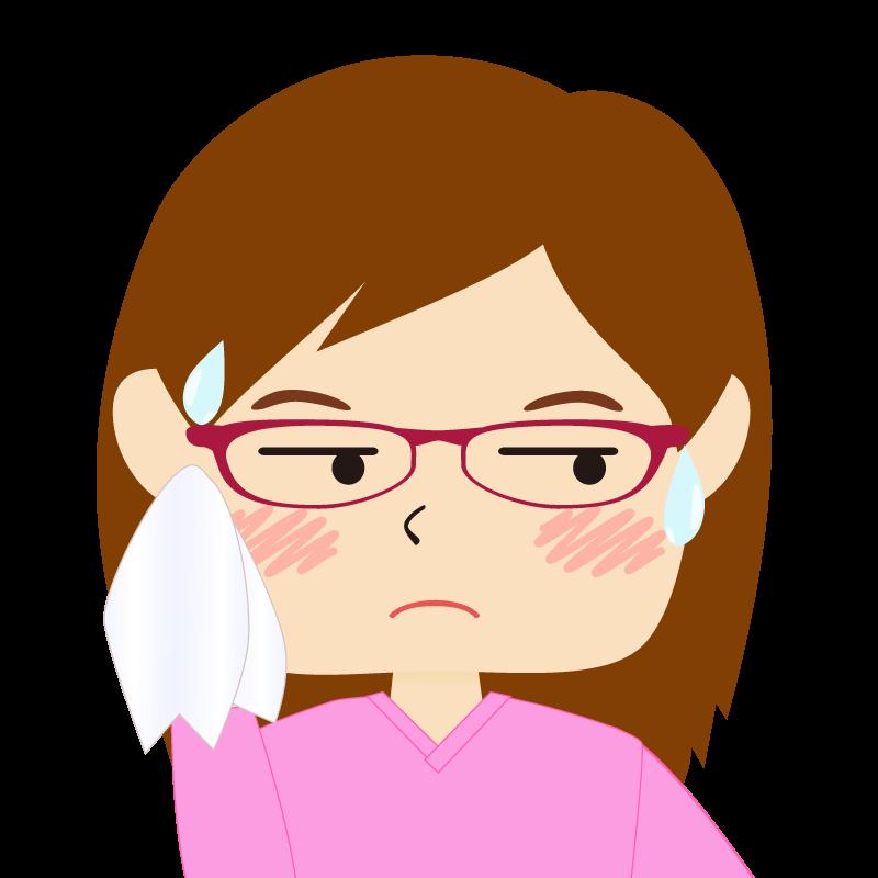 画像:四角い顔の女性 長髪 眼鏡 汗