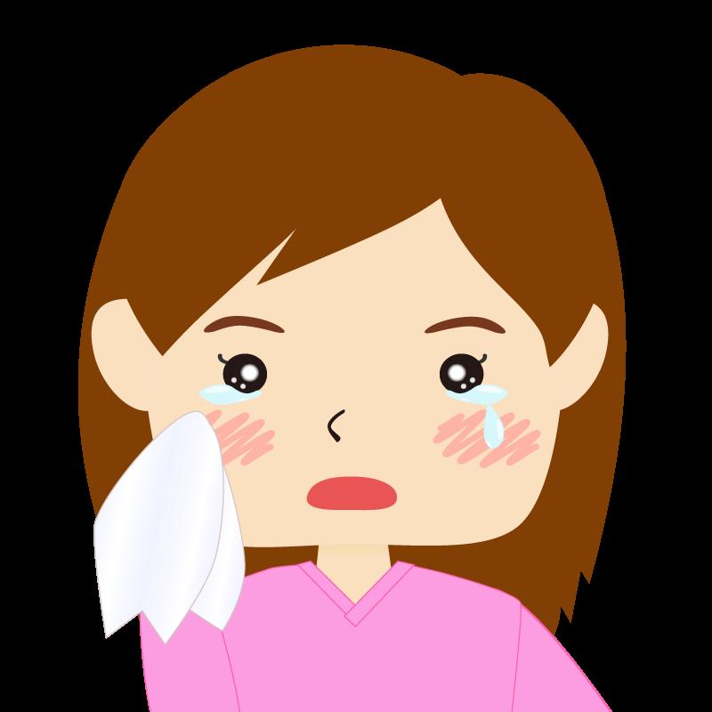 画像:四角い顔の女性 長髪 涙