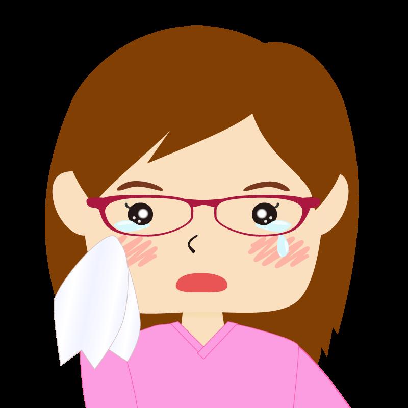 画像:四角い顔の女性 長髪 眼鏡 涙