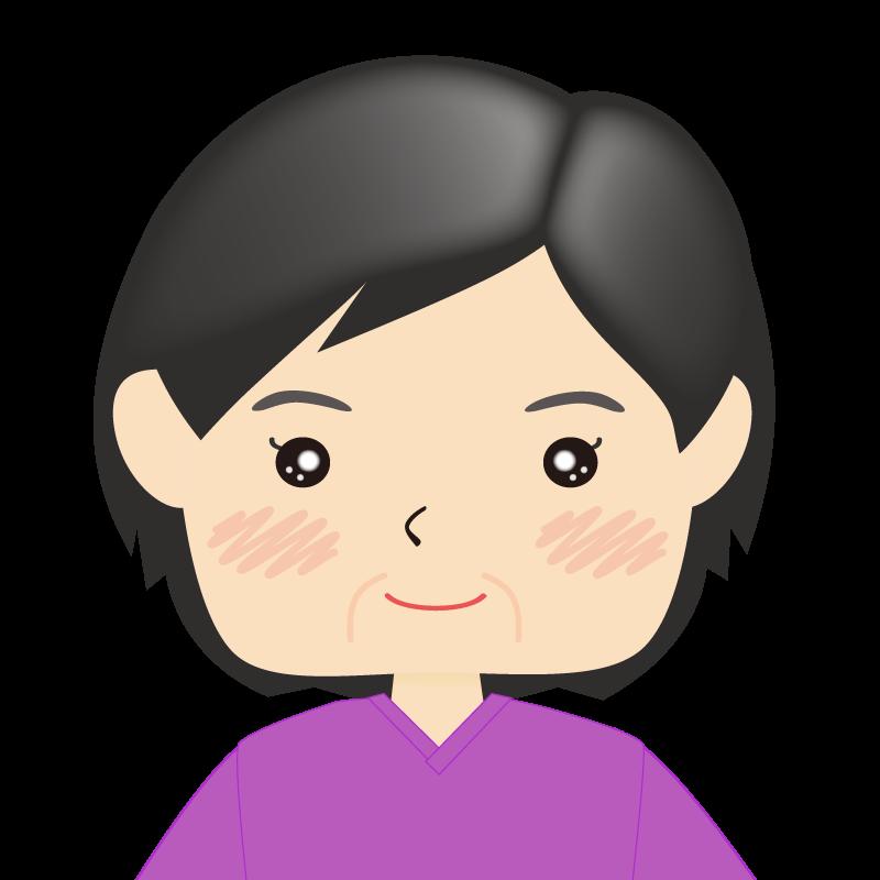 画像:四角い顔の女性 熟年