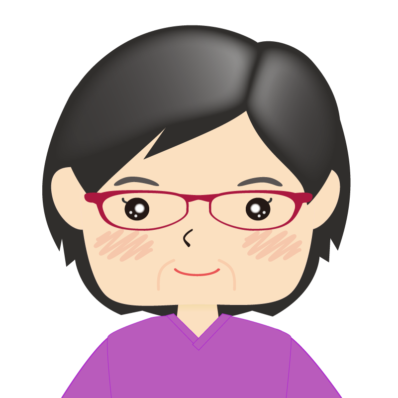 画像:四角い顔の女性 熟年 眼鏡
