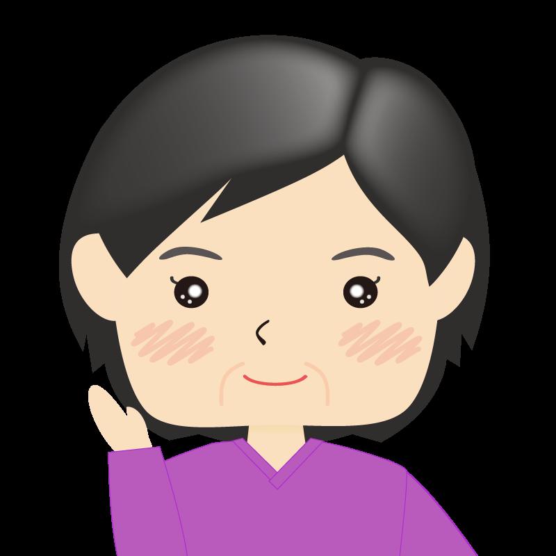 画像:四角い顔の女性 熟年 案内