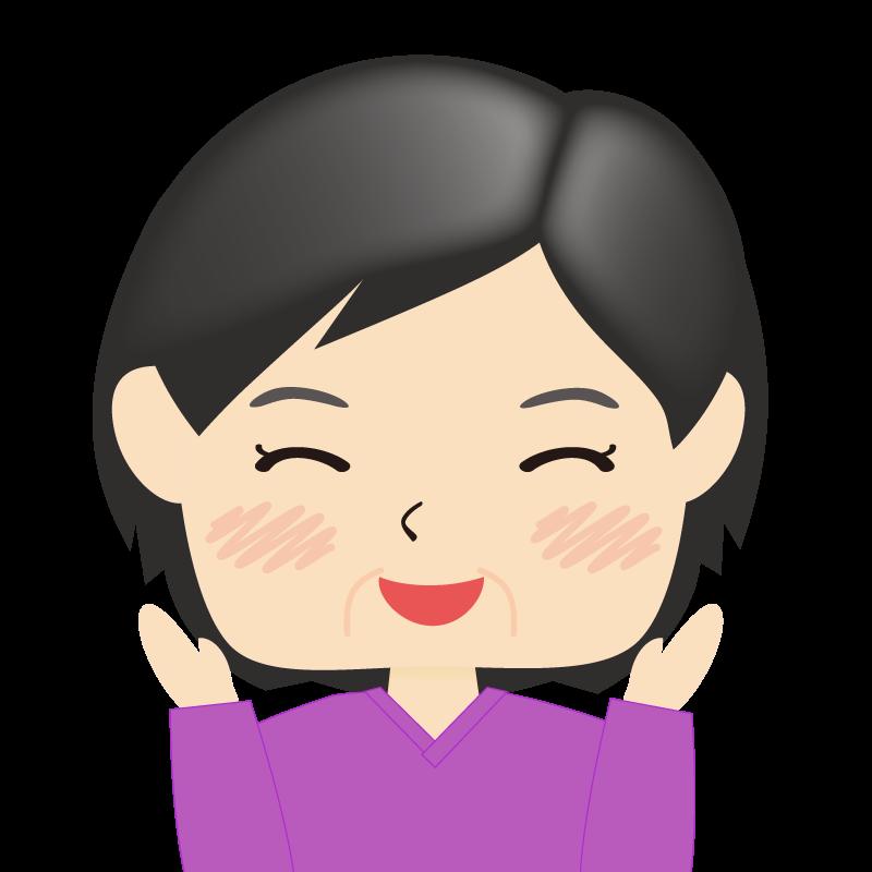 画像:四角い顔の女性 熟年 喜び