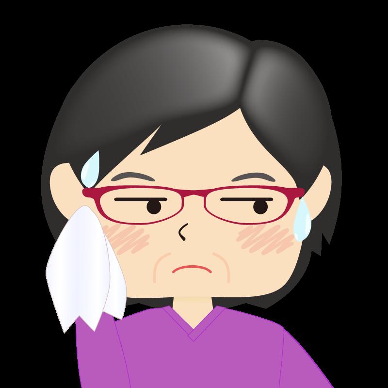 画像:四角い顔の女性 熟年 眼鏡 汗