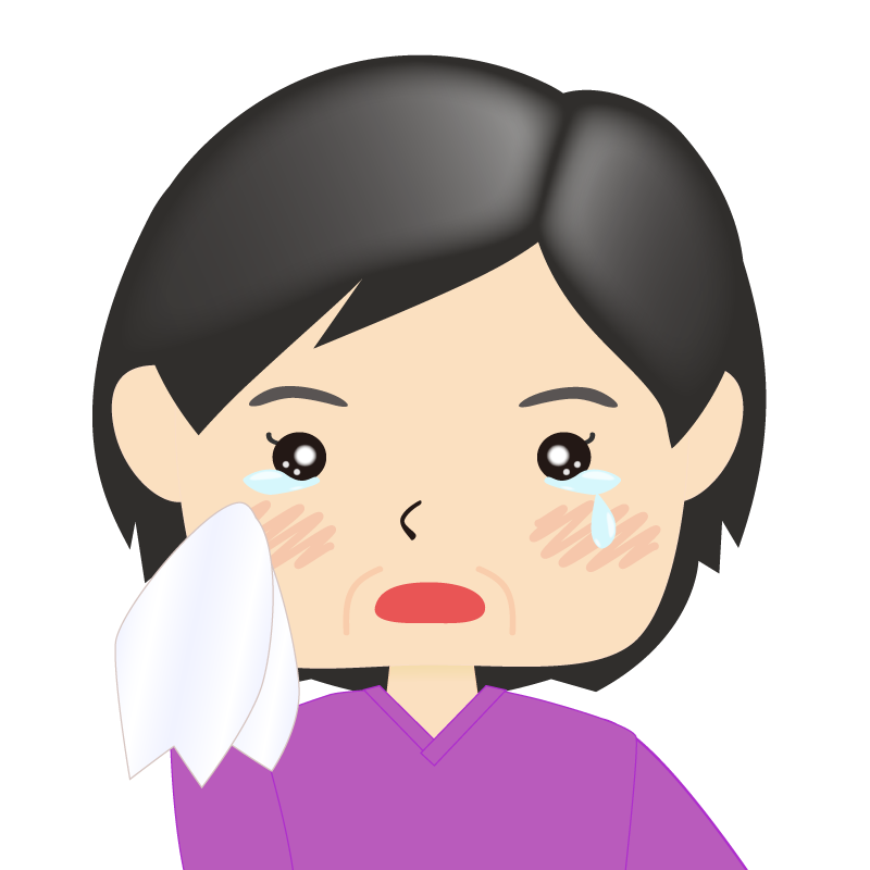 画像:四角い顔の女性 熟年 涙