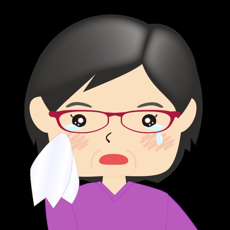 画像:四角い顔の女性 熟年 眼鏡 涙