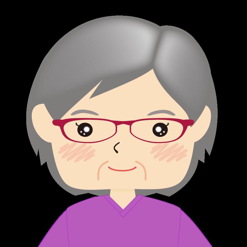 画像:四角い顔の女性 高齢 眼鏡