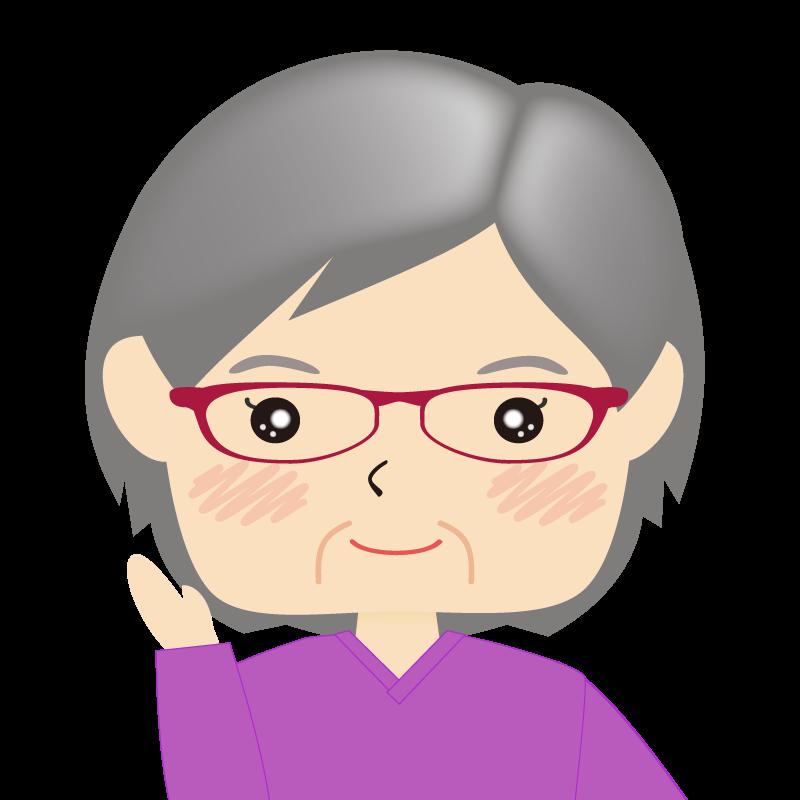 画像:四角い顔の女性 高齢 眼鏡 案内