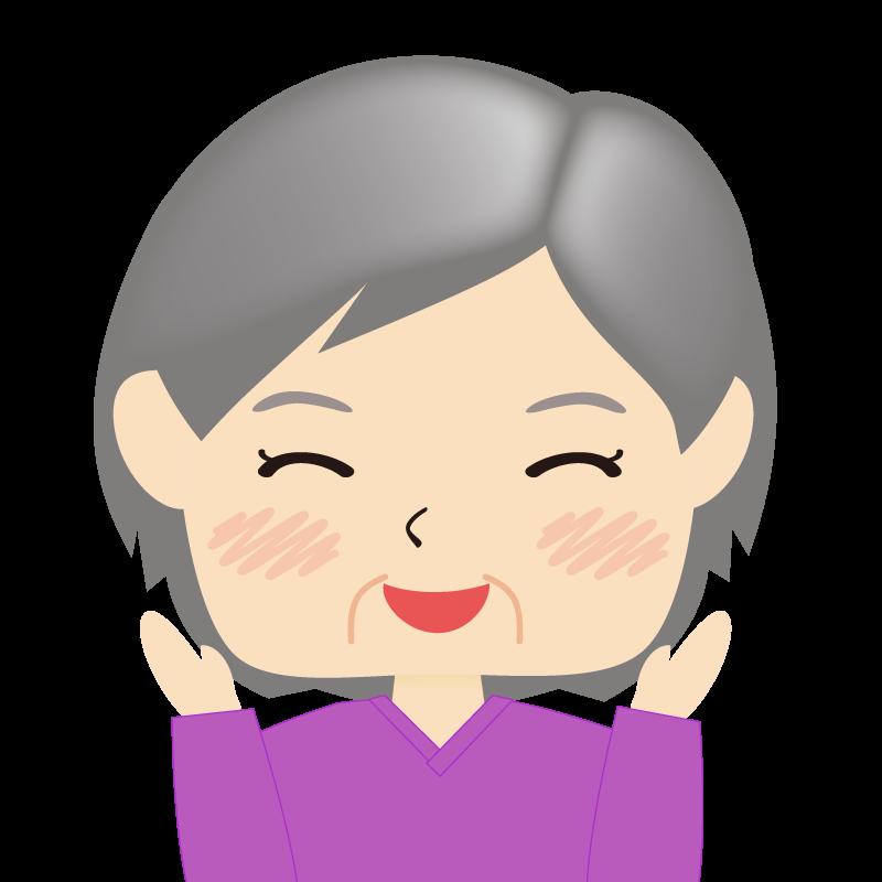 画像:四角い顔の女性 高齢 喜び