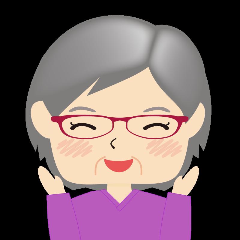 画像:四角い顔の女性 高齢 眼鏡 喜び
