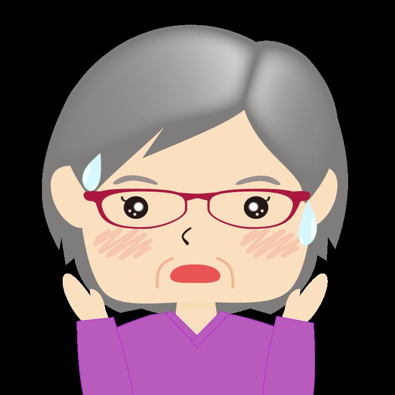 画像:四角い顔の女性 高齢 眼鏡 驚き
