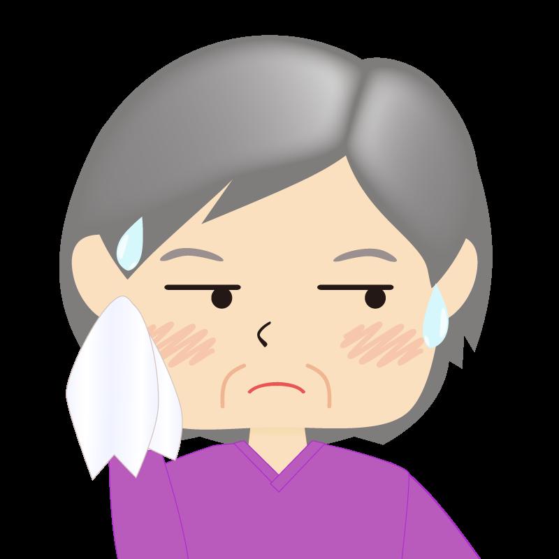画像:四角い顔の女性 高齢 汗
