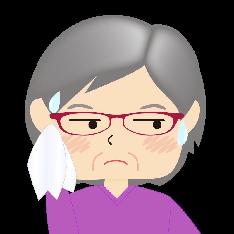 画像:四角い顔の女性 高齢 眼鏡 汗