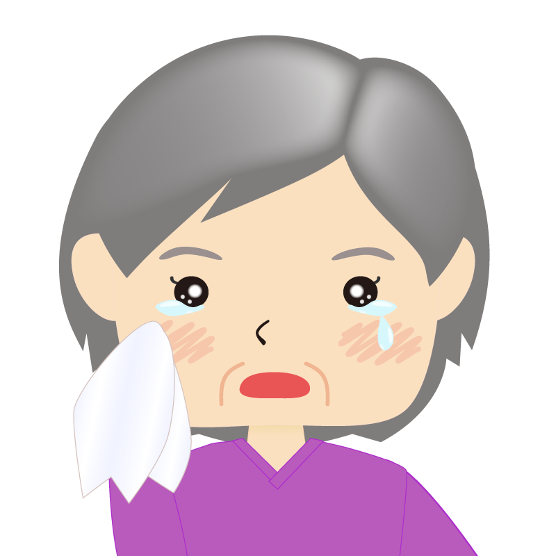 画像:四角い顔の女性 高齢 涙