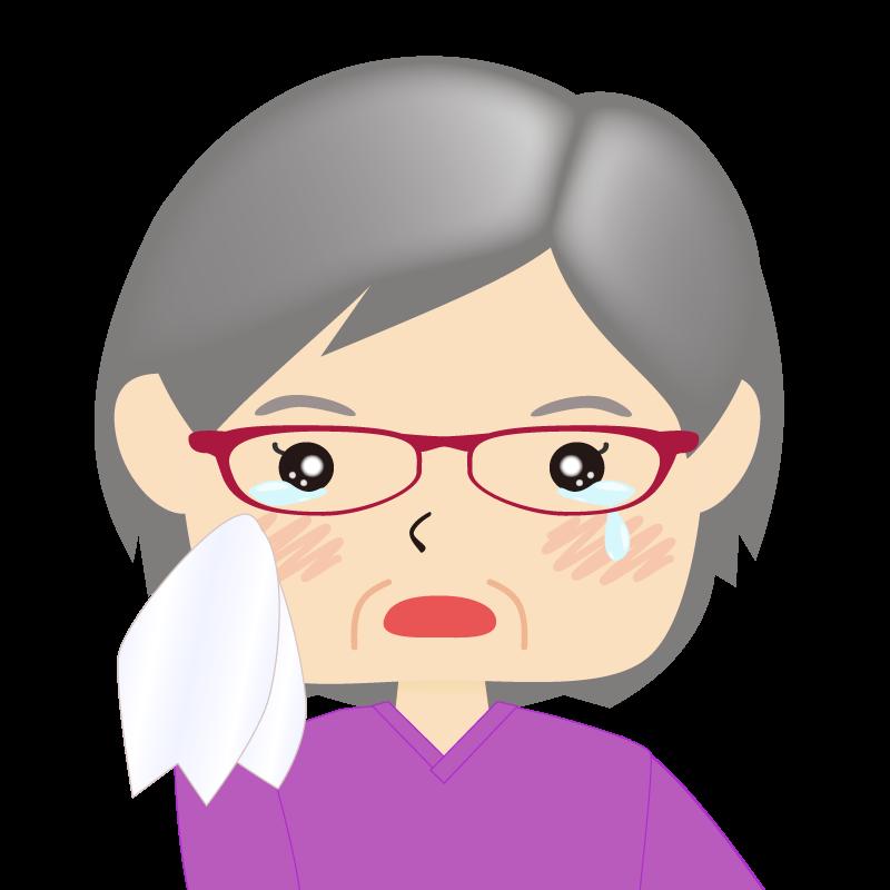 画像:四角い顔の女性 高齢 眼鏡 涙
